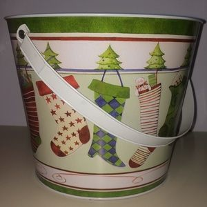 Metal Bucket with Christmas Stockings